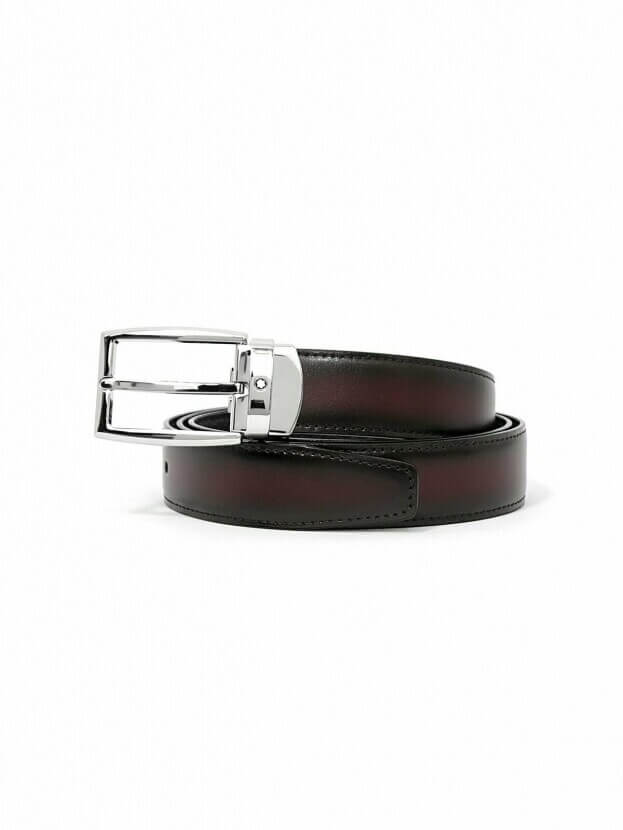 MONTBLANC Rectangular Shiny Ruthenium-Coated Pin Buckle Belt BLACK/RED 123901