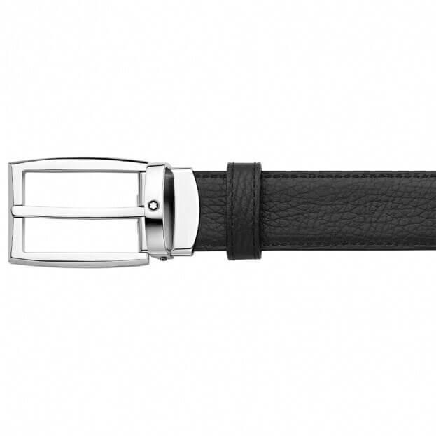 MONTBLANC Rectangular Shiny Ruthenium-Coated Pin Buckle Belt BLACK/RED 123901