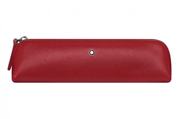 Montblanc Sartorial 2Pen Pouch Zip Top Κασετίνα Θήκη Στυλογράφου Κόκκινο Δέρμα