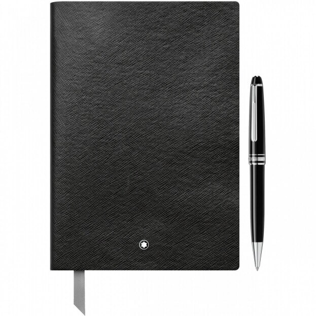Montblanc Set with the Meisterstück Classique Platinum-Coated Ballpoint Pen and Notebook #146 Σετ Σημειωματάριο & Στυλό Μαύρο