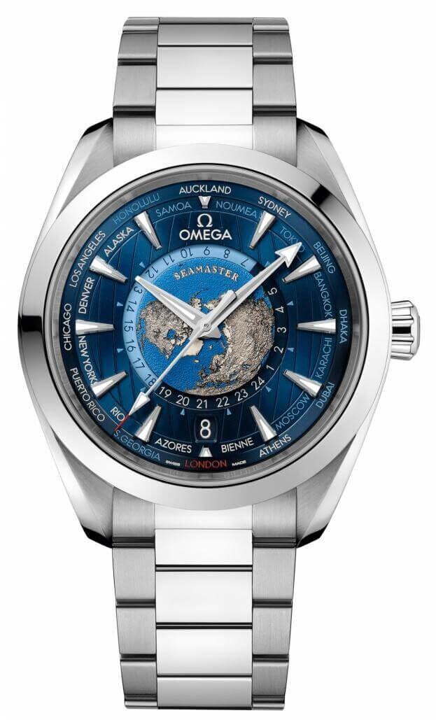 OMEGA Seamaster Aqua Τerra 150Μ GMT Worldtimer Co-Axial Master Chronometer Automatic 43mm Μπλε Καντράν Ανδρικό Ρολόι