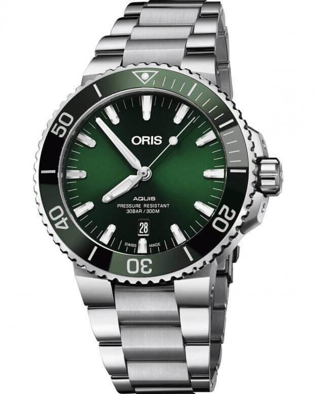 ORIS Aquis Date Automatic 43.5mm Green Dial Mens Watch