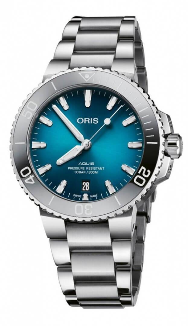ORIS AQUIS DATE AUTOMATIC 39.5mm ΜΠΛΕ Καντράν Ανδρικό Ρολόι