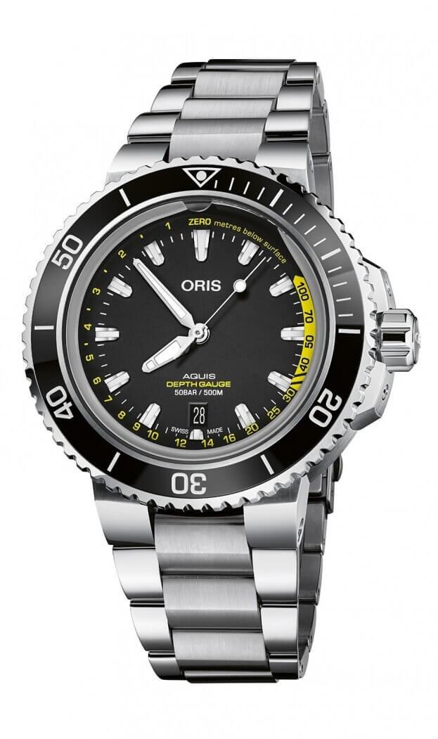 ORIS Aquis DEPTH GAUGE Automatic 45.80mm Μαύρο Καντράν Ανδρικό Ρολόι