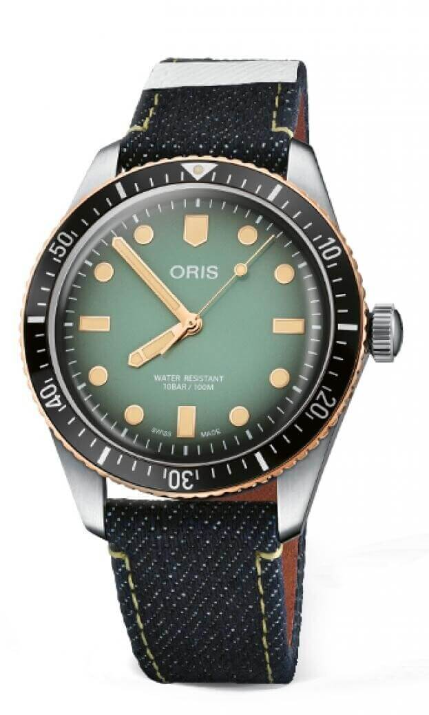 ORIS x Momotaro Divers Automatic Πράσινο Καντράν Jeans Λουράκι Ανδρικό Ρολόι 40mm 0173377074337SET
