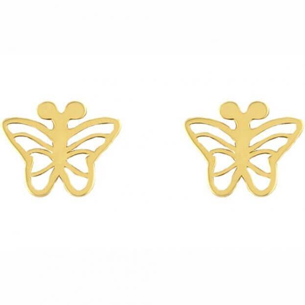 Inglessis Collection Παιδικά Σκουλαρίκια Κίτρινο Χρυσό Κ14 (ζεύγος) Πεταλούδα