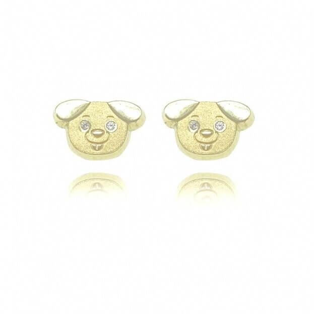 Inglessis Collection Παιδικά Σκουλαρίκια Κίτρινος Χρυσός Κ14 με ζιργκόν