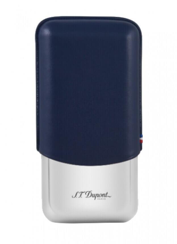 DUPONT Πουροθήκη Τριπλή CIGAR CASE Ατσάλι & Δέρμα Μπλε