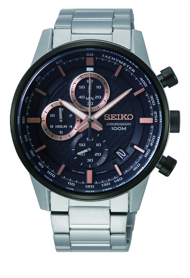 SEIKO Conceptual Chronograph Quartz Mens Watch 42.7mm Black Dial