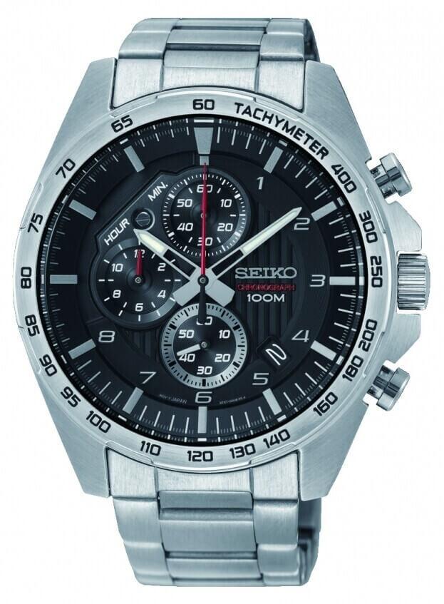 SEIKO Conceptual Chronograph Quartz Mens Watch 43.9mm Black Dial