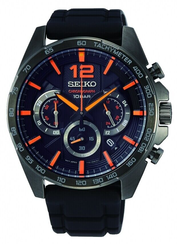 SEIKO Conceptual Chronograph Quartz Mens Watch 43.9mm Black Dial