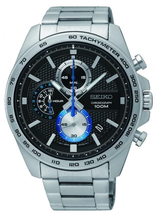 SEIKO Conceptual Chronograph Quartz Mens Watch 44mm Black Dial