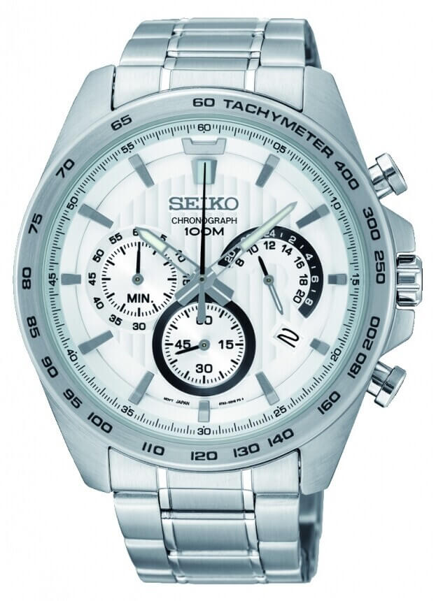 SEIKO Conceptual Chronograph Quartz Mens Watch 44mm White Dial