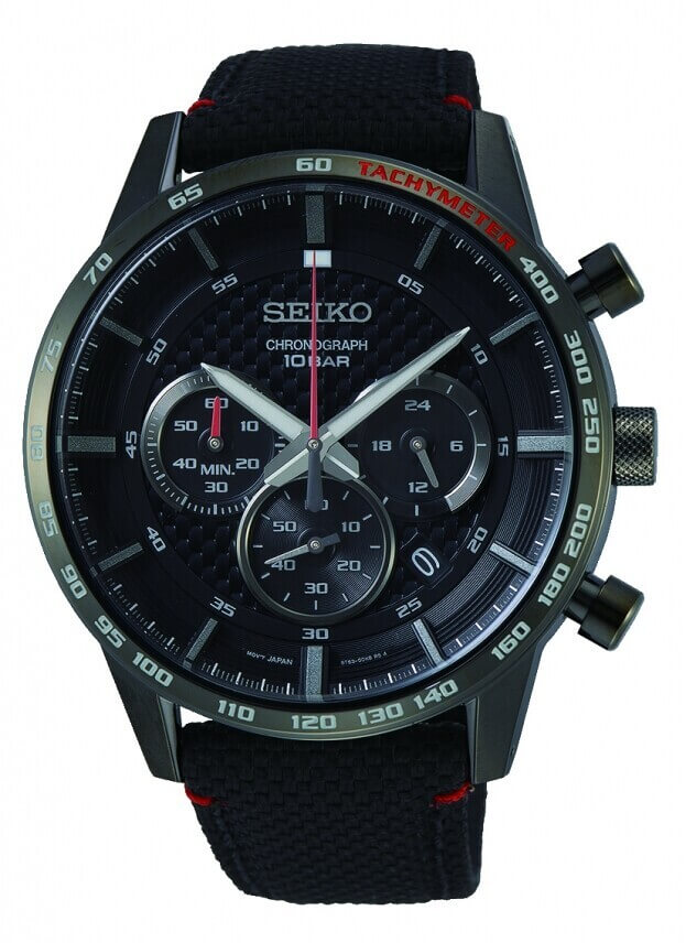 SEIKO Conceptual Chronograph Quartz Mens Watch 45.2mm Black Dial