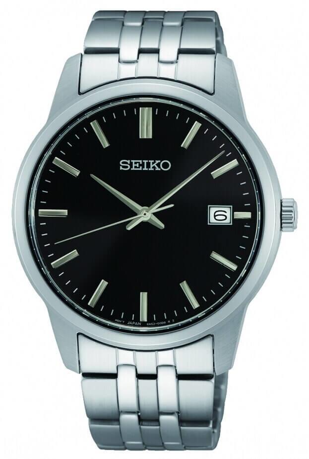 SEIKO Essential Time Quartz Mens Watch 42mm Μαύρο Καντράν Ανδρικό Ρολόι