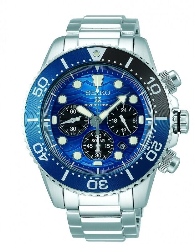 SEIKO Prospex Chronograph Solar Quartz 43.5mm Μπλε Καντράν Ανδρικό Ρολόι