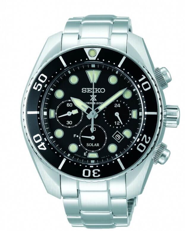 SEIKO Prospex Chronograph Solar Quartz 44.5mm Μαύρο Καντράν Ανδρικό Ρολόι