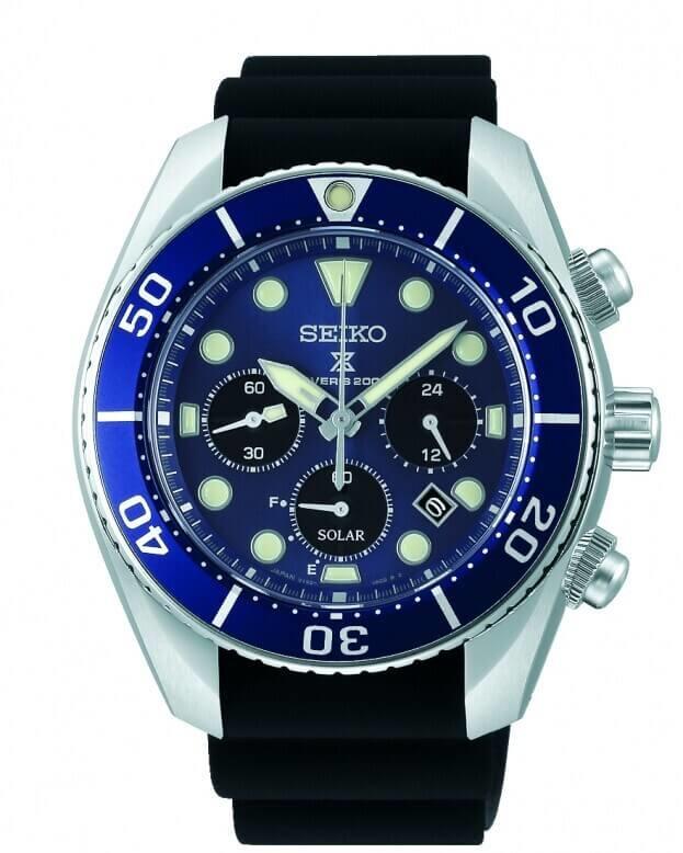 SEIKO Prospex Chronograph Solar Quartz 44.5mm Μπλε Καντράν Ανδρικό Ρολόι