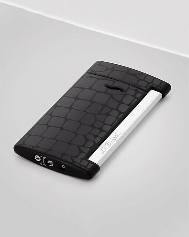 S.T. DUPONT Lighter Slim 7 Croco Dandy Black Αναπτήρας Μαύρο Κροκό