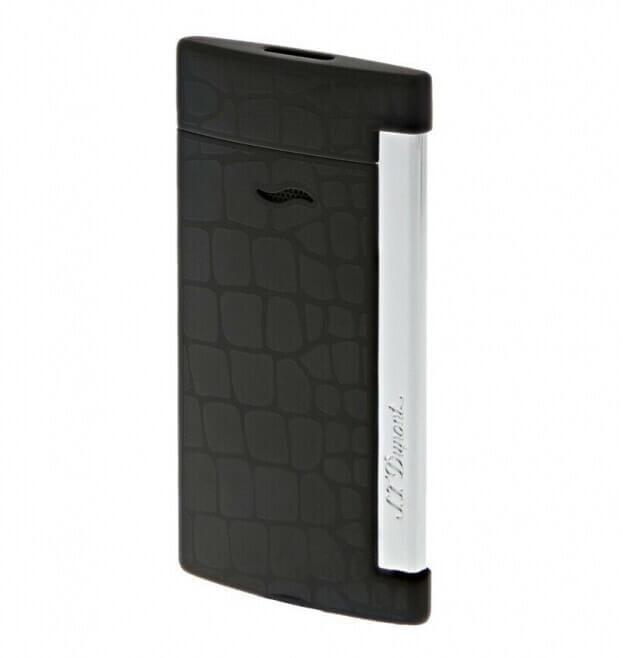S.T. DUPONT Lighter Slim 7 Croco Dandy Black Αναπτήρας Μαύρο Κροκό
