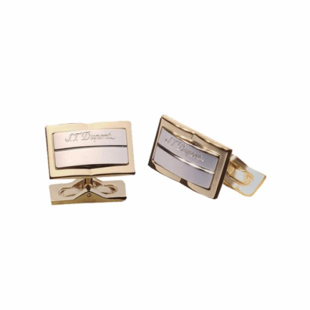 S.T. DUPONT Μανικετόκουμπα RECTANGULAR GATSBY Παλλάδιο Ασημί & Κίτρινο Χρυσό