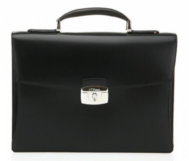 S.T. DUPONT One Gusset Briefcase LINE D Χαρτοφύλακας Μαύρο Δέρμα