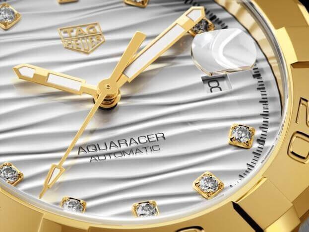 TAG HEUER Aquaracer Automatic 32mm Ασημί Καντράν με Μπριγιάν Γυναικείο Ρολόι