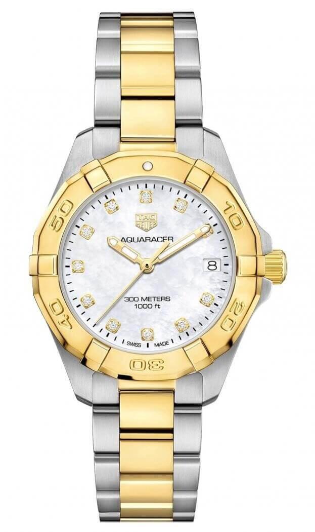 TAG HEUER Aquaracer Lady Quartz 32mm Λευκο Mother-of-Pearl με Μπριγιάν Γυναικείο Ρολόι