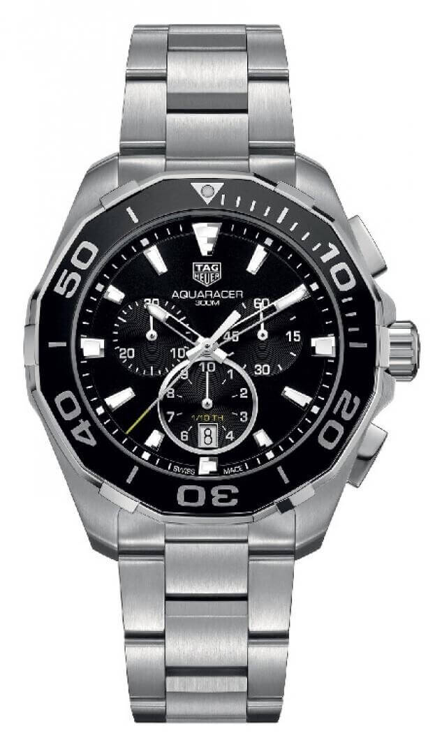 TAG HEUER Aquaracer Quartz Chronograph 43mm Μαύρο Καντράν Ανδρικό Ρολόι