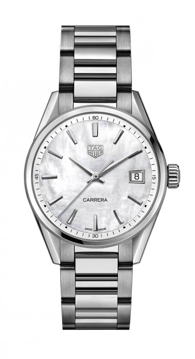 TAG HEUER Carrera Lady Quartz 36mm Λευκό Mother-of-Pearl Καντράν Γυναικείο Ρολόι