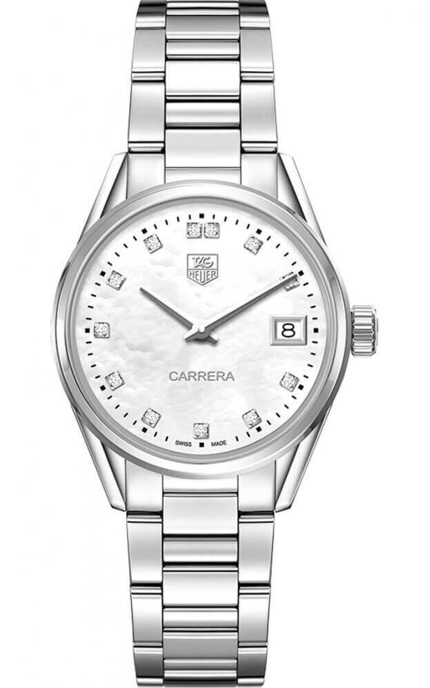 TAG HEUER Carrera Lady Quartz 32mm Λευκό Mother-of-pearl Καντράν με Μπριγιάν Γυναικείο Ρολόι