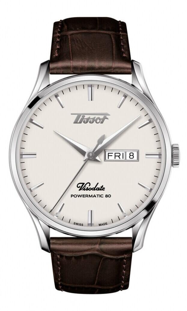 TISSOT Ηeritage Visodate Powermatic 80 42mm Λευκό Καντράν Ανδρικό Ρολόι