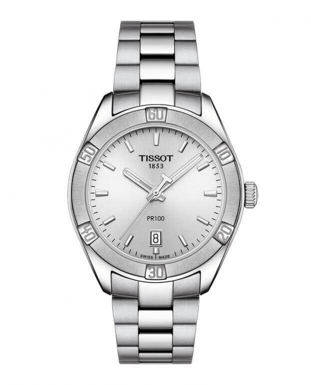 TISSOT PR 100 Sport Chic Quartz Lady 36mm Ασημί Καντράν Γυναικείο Ρολόι
