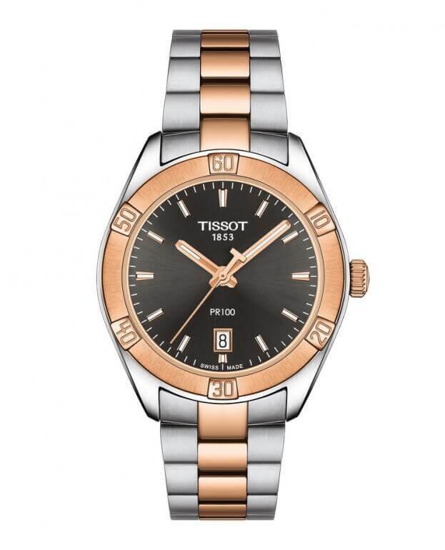 TISSOT PR 100 Sport Chic Quartz Lady 36mm Γκρι Καντράν Γυναικείο ρολόι