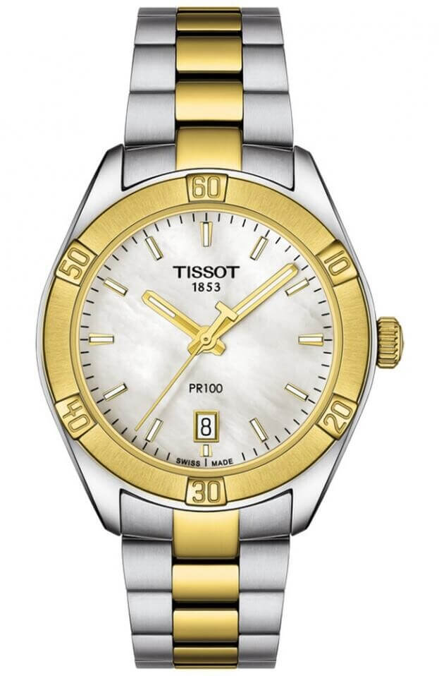 TISSOT PR 100 Sport Chic Quartz Lady 36mm Λευκό Καντράν Γυναικείο Ρολόι