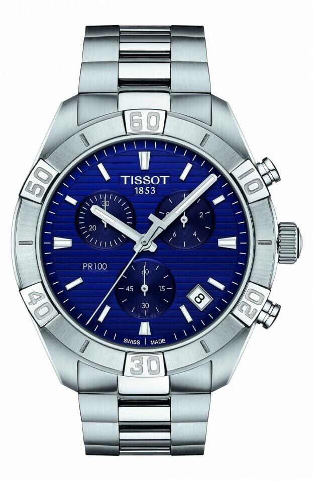 TISSOT PR 100 Sport Gent Chronograph Quartz 44mm Μπλε Καντράν Ανδρικό Ρολόι