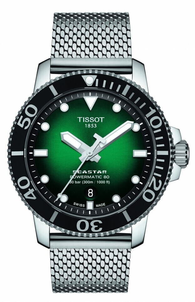 TISSOT Seastar 1000 Powermatic 80 43mm Πράσινο Καντράν Ανδρικό Ρολόι