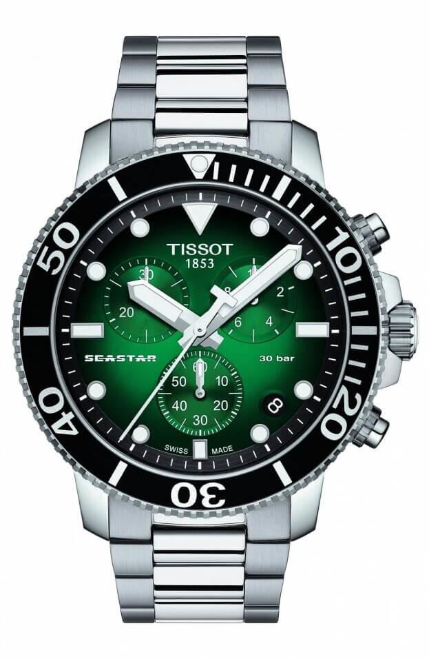 TISSOT Seastar 1000 Quartz Chronograph 45.5mm Πράσινο Καντράν Ανδρικό Ρολόι