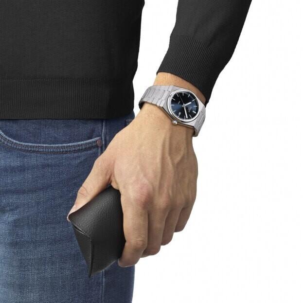 TISSOT T-Classic PRX Quartz 40mm Μπλε Καντράν Ανδρικό Ρολόι