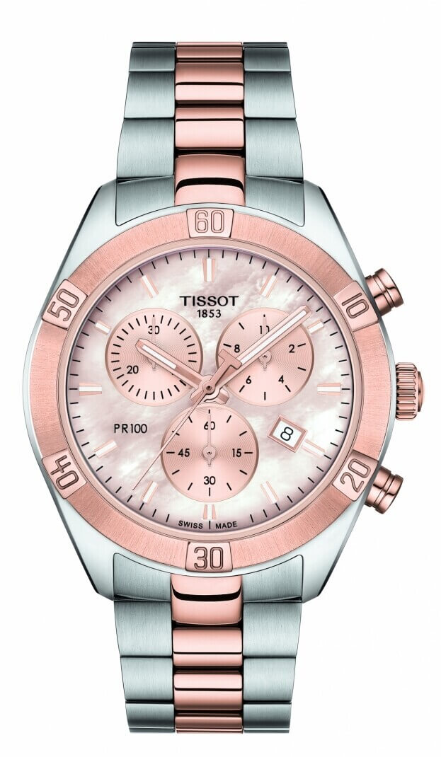 TISSOT TISSOT PR 100 Sport Chic Quartz Chronograph Lady 38mm Ροζ Φίλντισι Καντράν Γυναικειό Ρολόι