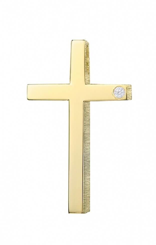 TRIANTOS ΣΤΑΥΡΟΣ ΚΙΤΡΙΝΟΣ ΧΡΥΣΟΣ Κ18 με μπριγιάν