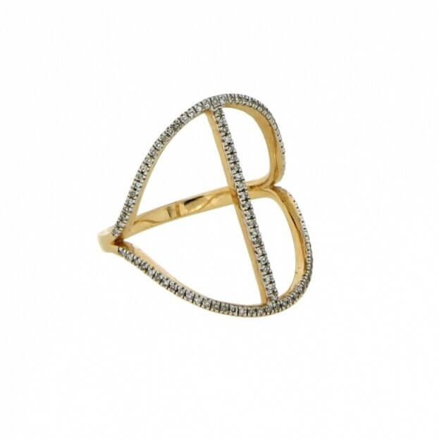 VERITA Δαχτυλίδι Κίτρινος Χρυσός Κ14 με διαμάντια