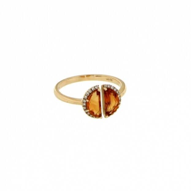 VERITA Δαχτυλίδι Κίτρινος Χρυσός Κ14 με διαμάντια & citrine