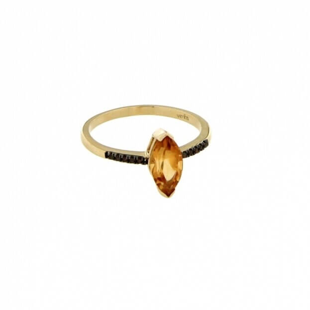 VERITA Δαχτυλίδι Κίτρινος Χρυσός Κ14 με καφέ διαμάντια & citrine