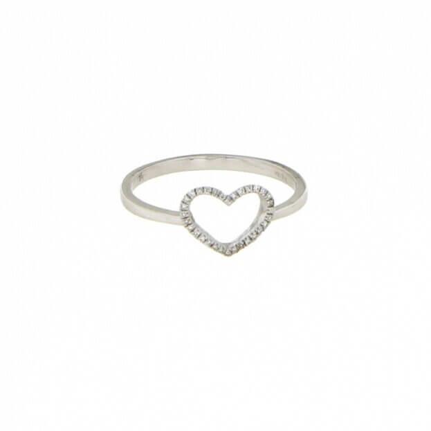 VERITA Ring White Gold Κ14 with Diamonds