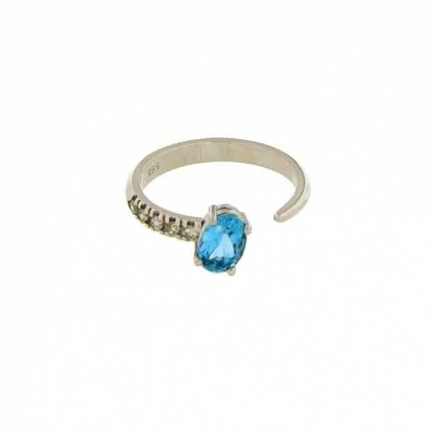 VERITA Δαχτυλίδι Λευκός Χρυσός Κ14 με διαμάντια & τοπάζι