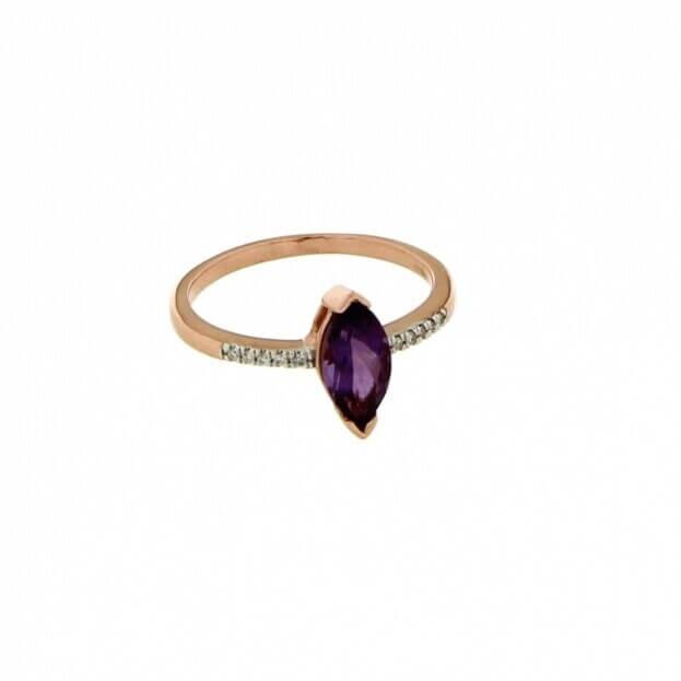 VERITA Ring Rose Gold Κ14 with Diamonds & Amethyst