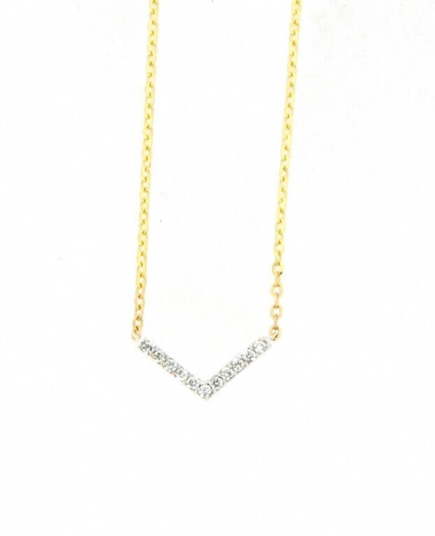 VERITA Κολιέ Κίτρινος Χρυσός Κ14 με διαμάντια