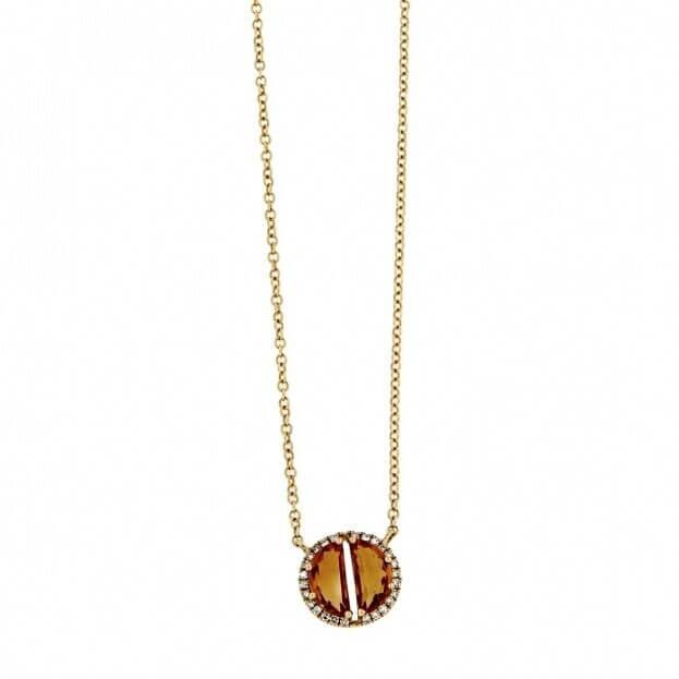 VERITA Κολιέ Κίτρινος Χρυσός Κ14 με διαμάντια & citrine