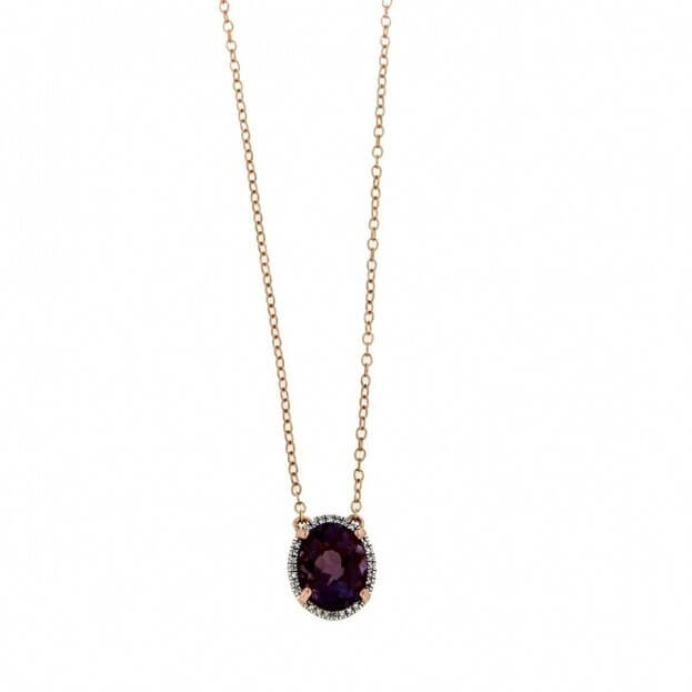 VERITA Κολιέ Ροζ Χρυσός Κ14 με διαμάντια & αμέθυστο